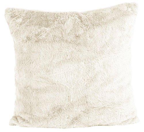 Nielsen Kissenbezug Octavian, 50x50 cm, Antique White (weiß), extra flauschig und weich, Kuschelkissen, Dekokissen, Fellkissen, modernes Zierkissen, Sofakissen, dekorativ und elegant