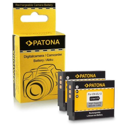 2x Batteria EN-EL12 per Nikon CoolPix AW100 | AW110 | P300 | P310 | P330 | S31 | S70 | S710 | S610 | S610c | S620 | S630 | S640 | S800c | S1000pj | S6100 | S6300 | S6400 | S8000 | S8100 | S9100 | S9200 | S9300 | S9400 | S9500
