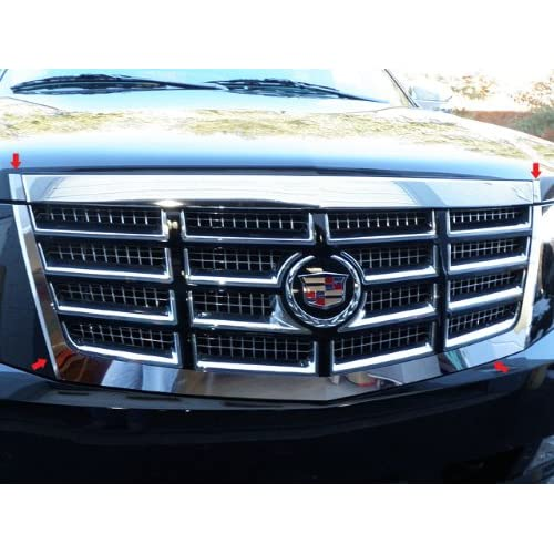 qaa fits escalade 2007-2014 cadillac (4 pc: stainless steel grille surround  accent