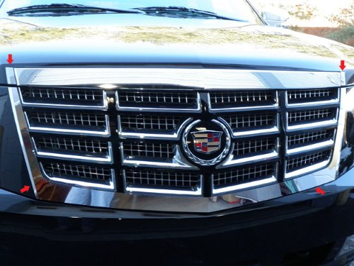 QAA fits 2007-2014 Cadillac Escalade 4 Piece Stainless Front Grille Accent Trim SG47255