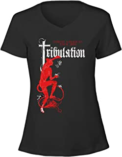 Womens Rock Band Tribulation Tour 2016 Logo V Neck Tee Shirt Cotton
