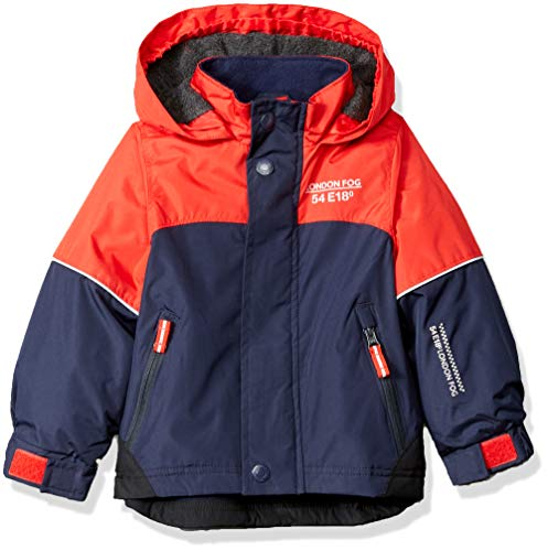LONDON FOG Boys' Little Midweight Water Resistant Hooded Jacket, Bright red, 5/6