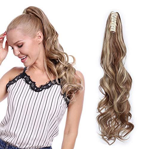 """Postiche Queue de Cheval Ondulé A Pince Ombre Ponytail Extension - Brun Clair & Blond Cendré - 24"""" Claw On Extension Queue de Cheval Cheveux Synthetiq"""