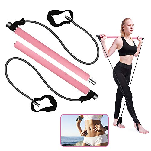 Pilates Exercise Stick, BicycleStore Portable Yoga Bar Kit with Resistance Band Multifunctional Muscle Toning Bar Home Gym Pilates Equipment Flexband Accessories with Foot Loop for Total Body Workout
