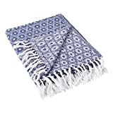 DII Rustic Farmhouse Cotton Blanket Throw with Fringe For Chair, Couch, Picnic, Camping, Beach, & Everyday Use , 50 x 60' - Mandala Circles Nautical Blue