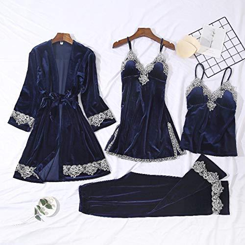 Dames Pyjama,4 Stuks Lace Velvet Pajamas Sets Vrouwen Warm Nachtkleding Robe Pants Winter Pijamas Badjas Sexy LingerieHomewear Loungewear