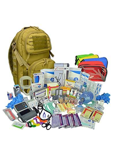 Lightning X Premium Stocked Tactical EMS/EMT Trauma First Aid Responder Medical Kit Backpack - Desert Tan