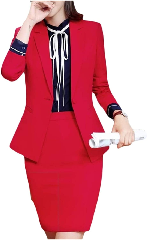 FieerWomen Fall Winter Work Business One Button Notch Lapel Skirt Suit