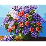 Pintura al óleo por número kit Pintura por números Decoración de pared Cuadro de bricolaje Pintura al óleo sobre lienzo para decoración del hogar Flor púrpura y tulipán sin marco 40X50 cm dfkdfd464