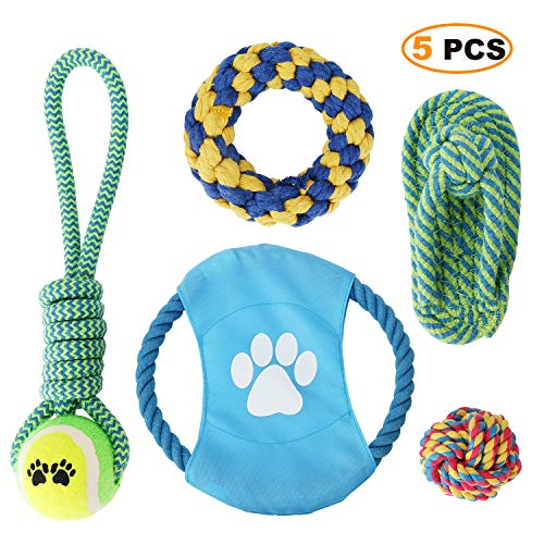 MoonCastle 5 Pack Puppy Chew Rope Tug Toys Sturdy Bite-Resistant Small to Medium Dogs Pets Teeth Cleaning Toys(5)