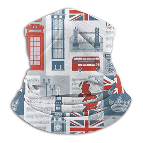 Fleece Neck Warmer Gaiter Theme van UK en London Britse vlag Soft microvezel hoofdtelefoon scarf masker voor winter koud weather & houden warm voor mannen vrouwen