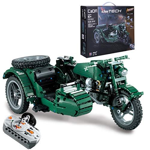 Bataop Technik Bausteine 3-Rad Motorrad mit Power-Funktion, RC WW2 Motorcycle, 629 Teile, Konstruktionsspielzeug Kompatibel mit Lego Technic