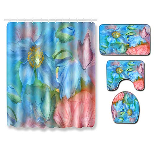 Ginsenget Washable Seaside Shower Curtain,Furnily for Wet Room Fabric Shower Curtain Bathroom Washable Digital Printing Shower Mildew Resistant Shower Curtain with Hooks,butterfly