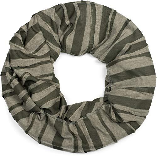 styleBREAKER Loop Schal mit Falten Muster, Schlauchschal, Tuch, Unisex 01018082, Farbe:Oliv-Grün