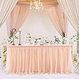 NSSONBEN Falda de mesa de tul de color oro rosado, para fiestas de bebés, niñas, bodas, cumpleaños, cumpleaños infantiles, 183 cm de largo x 77 cm de alto