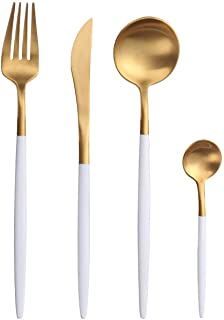 TD HOME 24 pieces Matte Cutlery Set, Stainless Steel Gold Silverware Flatware Set with White Handle Service for 6