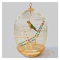 ローリングスタンドフィーダーの玩具の玩具高強度鋼鉄鳥飛行ケージ旅行や家庭用の鳥 (Color : Gold)