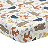 Lambs & Ivy Sierra Sky Woodland Bear/Fox 100% Cotton Baby Fitted Crib Sheet