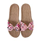 Pantuflas mujer sandalias lino playa antideslizantes chanclas para decoración de nudos mariposas zapatos transpirables Slippers cuarto de baño piscina