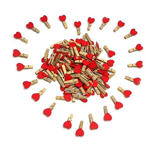 Sepkina 100 Deko Holzklammern Herzklammern Wäscheklammern Zierklammern Set für Fotos Geschenke Dekoration Mini Clips Klammern Herz rot Herzchen Herzen (SD-DK-100-Heart)
