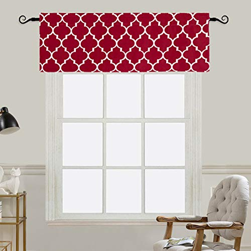 Jaoul Moroccan Valance for Windows of Kitchen Living Room Bedroom, Window Treatment Short Drapes Tile Print Half Curtains Top Drapes, Red, W52 x L18