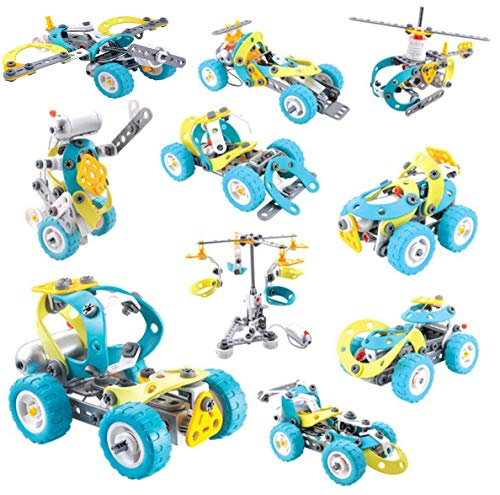 Magicwand® DIY 10-in-1 Motorized Building Construction Working Machine Models with 6 V Motor (10 Models Blue)