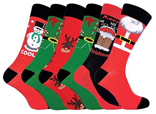 sock snob FESTIVE FEET - 6er Pack Herren Lustig Witzig Baumwolle Weihnachtssocken (6 Pairs, 39-45 EU)
