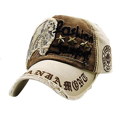 Qmber Leichte Baseballmütze Quick-Dry Outdoor Sports 2019 Golfkappe Jungen Mädchen Sonnenschutz Breathable Hat Mütze für Sport Outdoor Fashion Washed Eagle Eye Bestickte/Coffee1