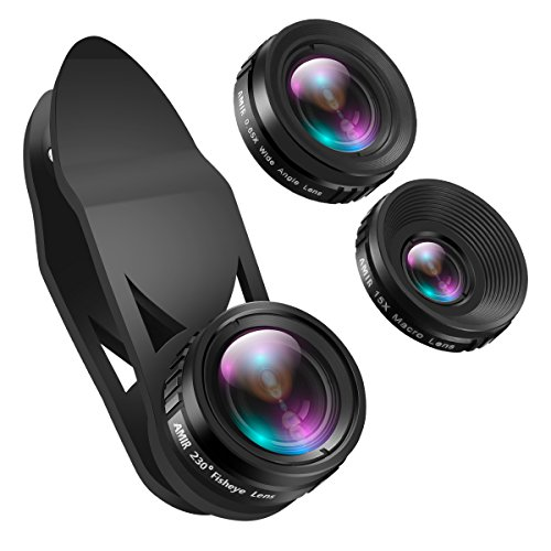 AMIR Phone Camera Lens, 230°Fisheye Lens, 0.65X Super Wide Angle Lens, 15X...
