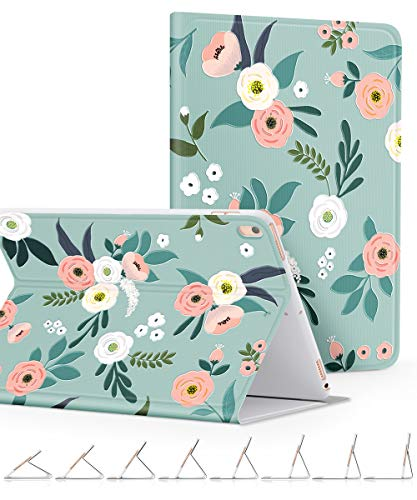 GVIEWIN Compatible for iPad Pro 10.5 Case/iPad Air 3 Case 2019, Slim Fit Cover Floral Pattern Series Adjustable Multiple Stand Angles with Auto Sleep/Wake (Fresh Touch/Cyan)