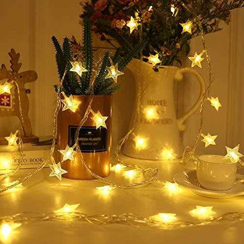 Cadena De Luces LED, Twinkle Star, Resistente Al Agua Ultrabrillante Segura Con Cadena De Luces De Hadas Paquete De 10 Para Cortinas De Ventana De Jardín Árbol De Navidad,10 m 80 lights,warm white