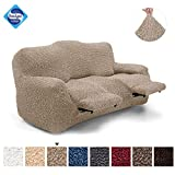 Recliner Sofa Cover - Recliner Couch Cover - Recliner Slipcover - Soft Polyester Fabric Slipcover - 1-piece Form Fit Stretch Furniture Protector - Microfibra Collection - Latte (Reclining Sofa)