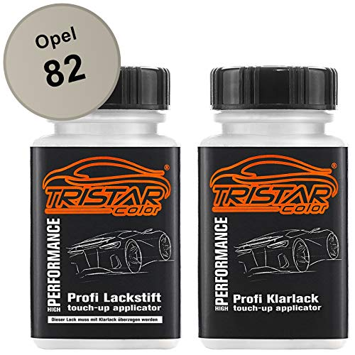 TRISTARcolor Autolack Lackstift Set für Opel 82 Hellgrau/Light Grey Basislack Klarlack je 50ml