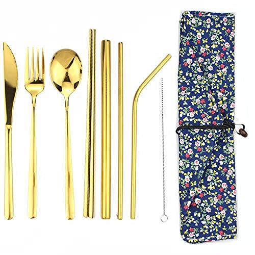8 unids / lote juego de vajilla de acero inoxidable cuchara tenedor palillos de paja con paquete de tela cubiertos para viajes al aire libre oficina Picnic BBQ-Gold B