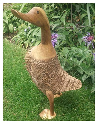Moderne Deko-Ente, groß, aufrecht stehend, aus der Wurzel eines riesigen Teakbaumes geschnitzt - 46 cm hoch