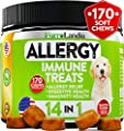 FurroLandia Allergy Relief Immune Supplement for Dogs - Seasonal & Food Allergies - Skin Itch, Hot Spots and More - Supports Digestive & Skin Health - Made in USA - 170 Treats - Bacon Flavor