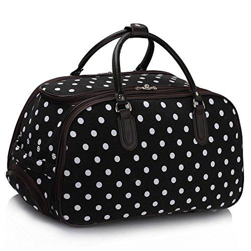 Ladies Wheeled Holdall Travel Luggage Bag Trolley Medium Canvas Women, Black