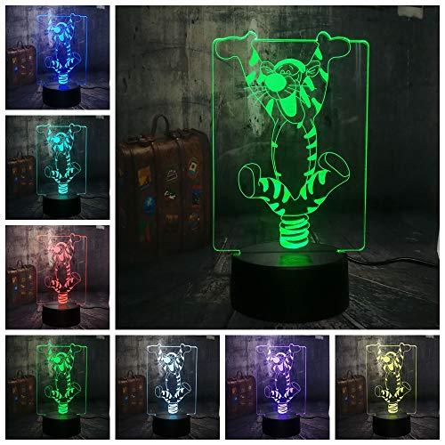 Lámpara 3D Lámpara de noche LED Mesa táctil Lámpara de Tigre lindo
