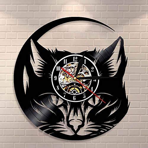 Regalos para Hombres Meow Cat Head Reloj de Pared Black Cat Vinyl Record Reloj Arte de la Pared Cat Shop Decoración Vintage Animals Cat Lover Home Decorativo Reloj Dormitorio Accesorios