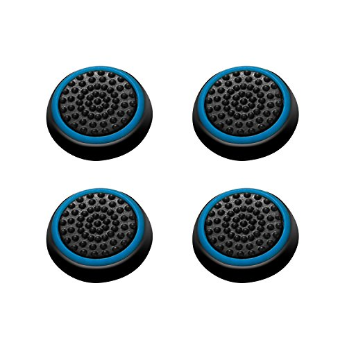 INSTEN [2 Pair / 4 Pcs Wireless Controllers Silicone Analog Thumb Grip Stick Cover, Game Remote Joystick Cap for PS4 Dualshock 4/ PS3 Dualshock 3/ PS2 Dualshock/Xbox One/Xbox 360, Black/Blue