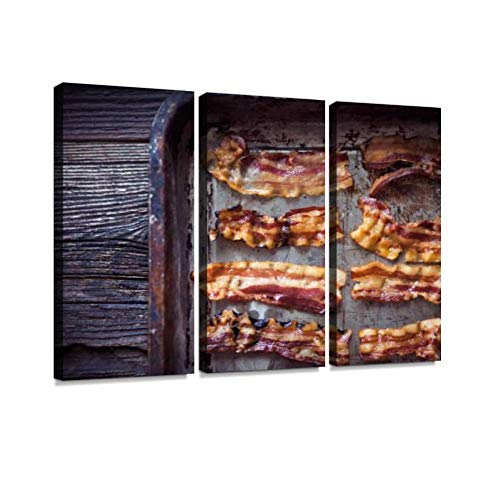 HABEN ARTWORK Frying Bacon Flaming fire Charcoal Print On Canvas Wall Artwork Modern Photography Home Decor Unique Pattern Stretched and Framed 3 Piece