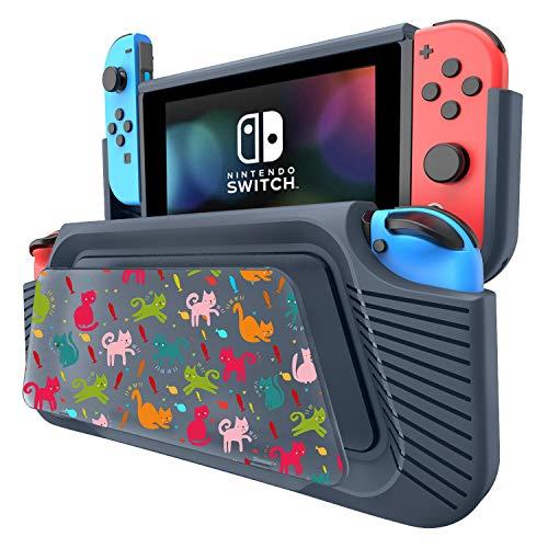 COODIO Custodia per Nintendo Switch, Hand Grip Deluxe Switch, Cover con Supporto / cinturino a mano / DIY pannello di pittura per Nintendo Switch, Blu Scuro