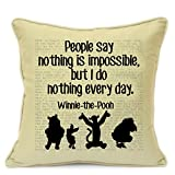 """Vintage Winnie The Pooh Disney Quotes Birthday Christmas Xmas 2017 Housewarming Party Gifts For Kids Girls Nursery Art Handmade 18"""" Cushion Cover For Sofa Chair Couch Living Room Bedroom"""