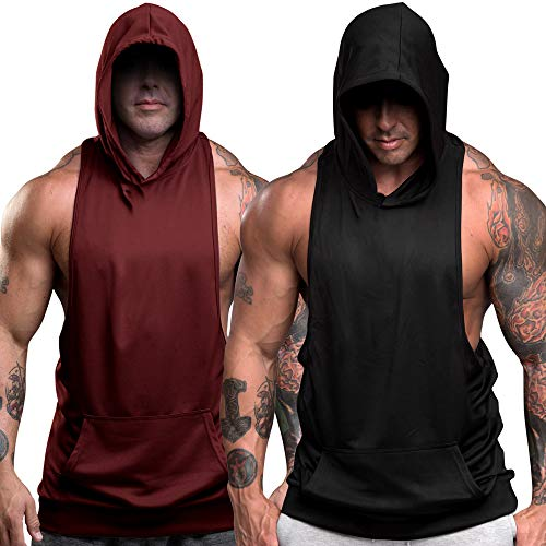 nine bull Men's Workout Hooded Tank Tops Sleeveless Gym Hoodies Bodybuilding Muscle Sleeveless T-Shirts L, Black and Wine Red