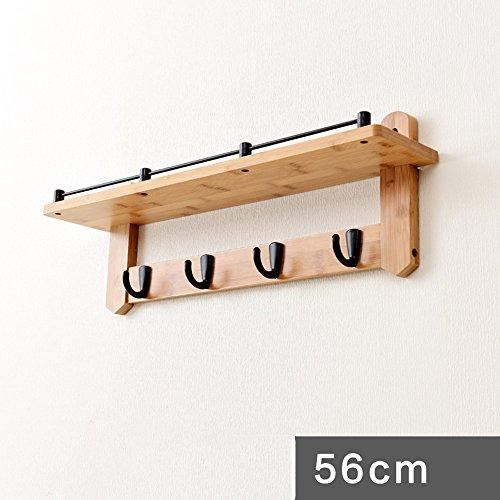 FEIFEI Cintres Crochets de vêtements étagères murales en bois massif stable et durable (Couleur : Noir, taille : 4 hooks)