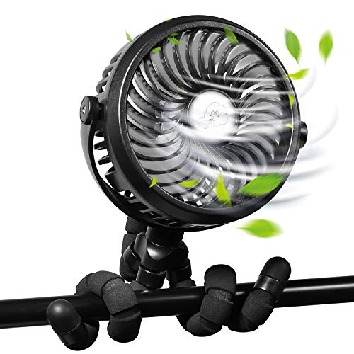 [2020 Upgraded] WGCC Personal Handheld Fan, 2600mAh 12 LEDs Clip On Tripod Fan Stroller Fan for Bedroom, Car Seat Camping with 3 Speeds and 360°Rotation