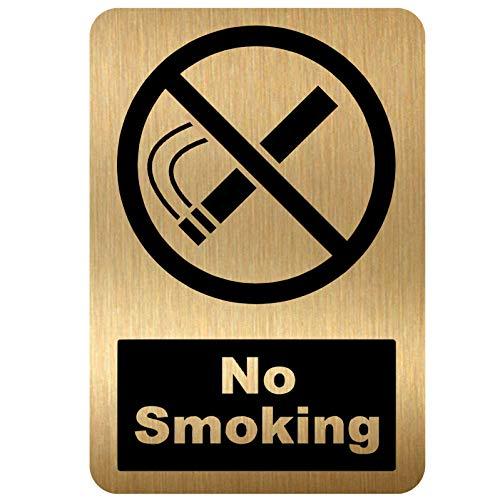 Rauchverbotsschild, Design 2 mit Bild, gebürstetes Gold, Aluminium, Warnhinweise für Büro, Geschäft, Lager, Schule, Café, Restaurant, Pub, Geschäftsräume, Hotel Gesundheit Sicherheit