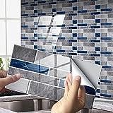 Exnemel Pegatinas de Azulejos para baño Cocina Autoadhesivas Impermeables transferencias de Azulejos de Pared de Metro Papel Pintado de Vinilo con Efecto de azulejo de cerámica DIY (B,48)