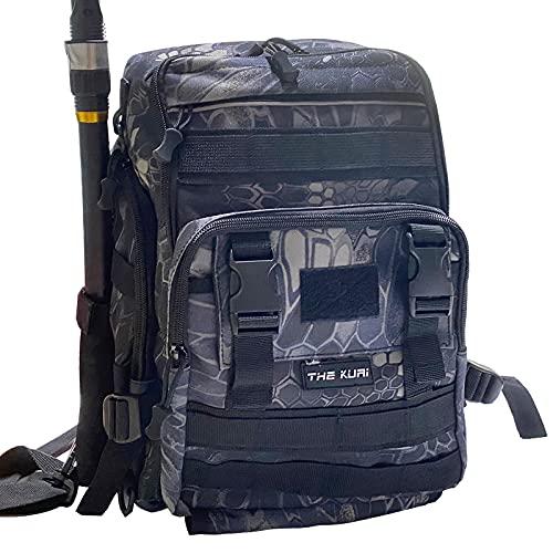 Thekuai Fishing Tackle Backpack Storage Bag Outdoor Shoulder Backpack Waterproof Cross Body Sling Bag Fishing Gear Bag with Rod Holder (Python Black)