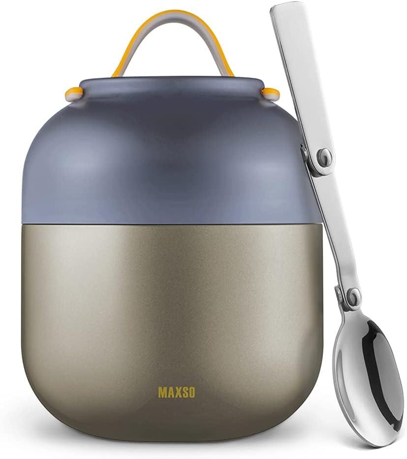 Termo Para Comida 500ml Logeeyar - Termo de sopa con aislamiento al vacío de acero inoxidable con cuchara plegable(gris)